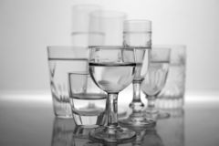 Different Type of Glasses. A group of different type of glasses in black and white royalty free stock image
