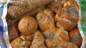 Group of different types of bread stock video footage