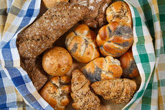 Group of different types of bread and bakery products Royalty Free Stock Images