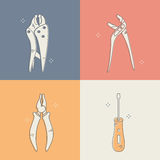 Group of different types of home tools. Modern vector outline style icon set Royalty Free Stock Photography