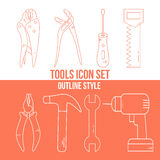 Group of different types of tools. Modern  outline style icon set Stock Images