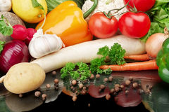 Group of different vegetables on black background. Group of different vegetables on black board Stock Photo
