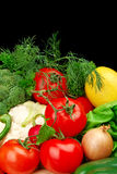 Group of different vegetables on black vertically royalty free stock images