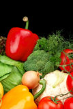 Group of different vegetables on black vertically Stock Photography