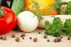 Group of different vegetables on wooden board Royalty Free Stock Photography