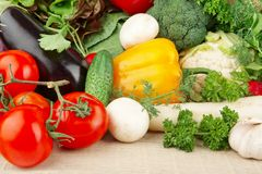 Group of different vegetables on wooden board stock images