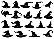 Group of different witch hats. Isolated on white royalty free illustration