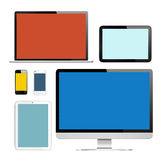 Group of Digital Devices with Colorful Screens Stock Photos