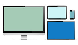 Group of Digital Devices with Colourful Screens Royalty Free Stock Images