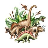 Group of dinosaurs with prehistoric plants. Watercolor hand drawn illustration, isolated on white background. Group of dinosaurs with prehistoric plants vector illustration