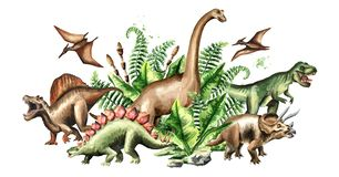Group of dinosaurs with prehistoric plants. Watercolor hand drawn illustration isolated on white background. Group of dinosaurs with prehistoric plants stock illustration