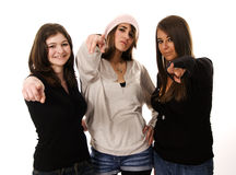Group direction. Three young women with attitude royalty free stock photos