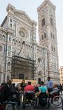 Group of disabled persons across from Florence, Italy`s iconic  Cattedrale di Santa Maria del Fiore Royalty Free Stock Photo