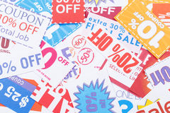 Group of discount coupon. Group of the discount coupon stock photo