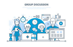 Group discussion, communications, cooperation, teamwork, partnerships, integrated approach to conversation. Group discussion, dialogues and communications Stock Photos