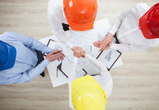 Group discussion in a construction company Stock Image