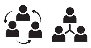 Group discussion silhouette. With white background Royalty Free Stock Images