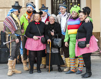Group of disguised people. Picture taken at Cadiz Carnival 2014 Royalty Free Stock Photo
