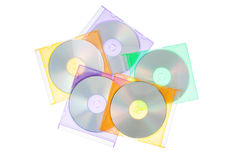 The group disks CD-DVD in the boxes. Stock Photo