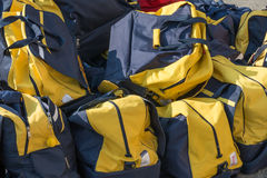 Group of disordered Modern sport bag Royalty Free Stock Photos