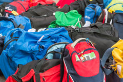 Group of disordered Modern sport bag Royalty Free Stock Images