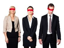 Group of disoriented businesspeople. With red ribbons on eyes Stock Photography