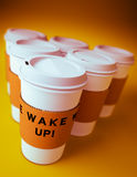 Group of disposable coffee cups Royalty Free Stock Photos