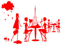 Group of divers woman in Paris. Silhouette, France cafe, restourant Royalty Free Stock Photos