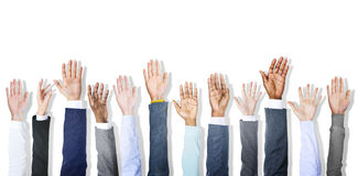 Group of Diverse Business People's Hands Raised Stock Photos