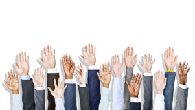 Group of Diverse Business People's Hands Raised Royalty Free Stock Photography