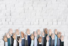Group of Diverse Business People's Hands Raised Royalty Free Stock Photos