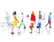 Group of  Diverse Busy People Shopping Stock Photo