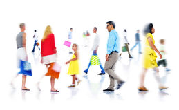 Group of Diverse Busy People Shopping.  Royalty Free Stock Photos