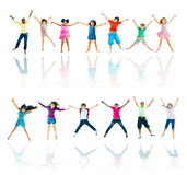 Group of Diverse Children Jumping Stock Images