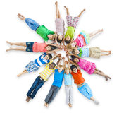 Group of Diverse Children Lie Down.  Stock Photography