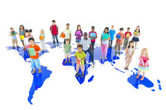 Group of Diverse Children with World Map