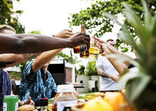 Group of diverse friends celebrating drinking beers together summer time royalty free stock photography