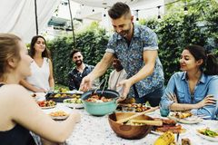 Group of diverse friends enjoying summer. Party together stock photography
