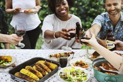 Group of diverse friends enjoying summer party together royalty free stock photo