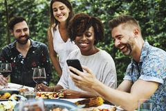 Group of diverse friends enjoying summer party together Royalty Free Stock Photography