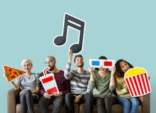 Group of diverse friends and music concept stock images