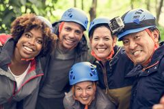 Group of diverse friends trekking together royalty free stock photo