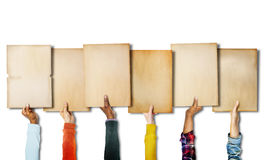 Group of Diverse Hands Holding Old Papers Royalty Free Stock Photo