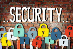 Group of Diverse Hands Holding Padlock Symbol Royalty Free Stock Photography