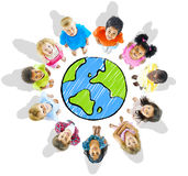 Group of Diverse Kids with Globe Stock Image