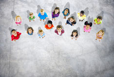 Group of Diverse Kids Looking Up Royalty Free Stock Images