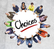Group of Diverse People in Circle Holding Hands Stock Photo