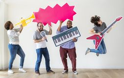 Group of diverse people enjoying music rehearsal Stock Images