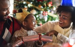 Group of diverse people are gathering for christmas holiday royalty free stock image
