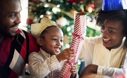 Group of diverse people are gathering for christmas holiday stock image